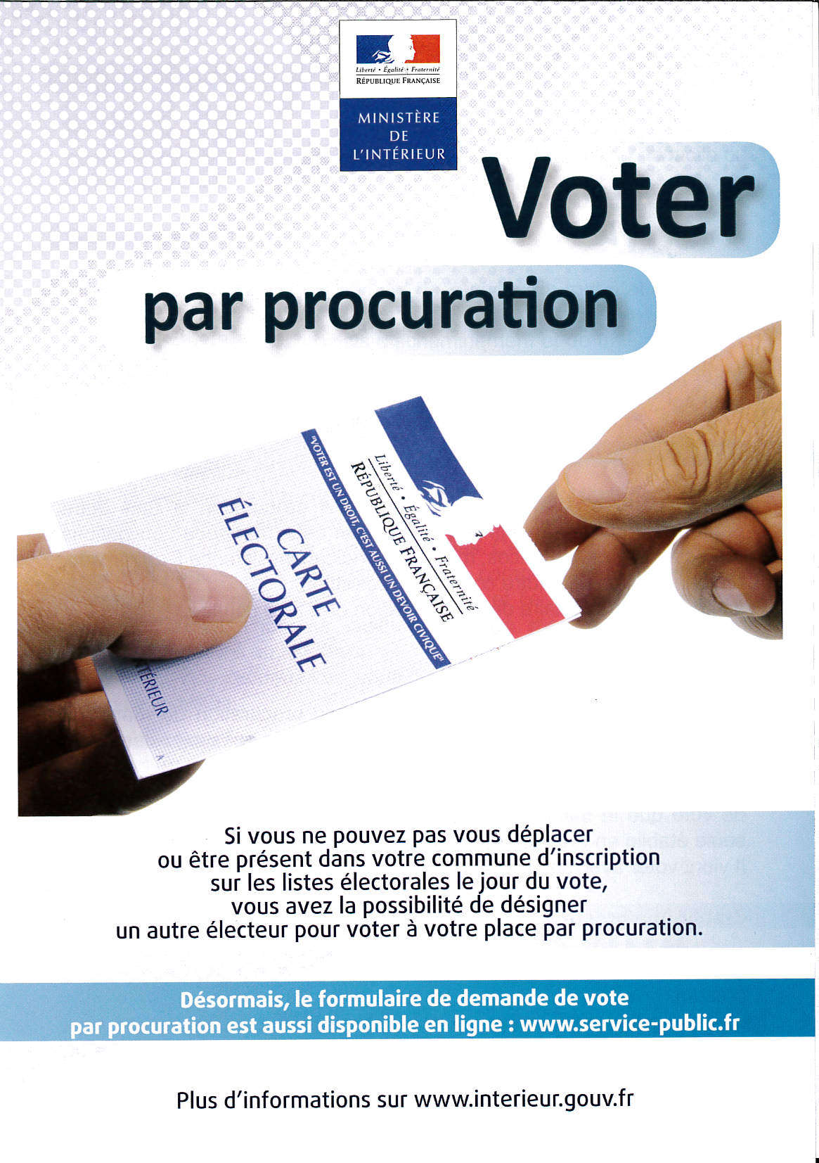ELECTIONS – VOTE PAR PROCURATION
