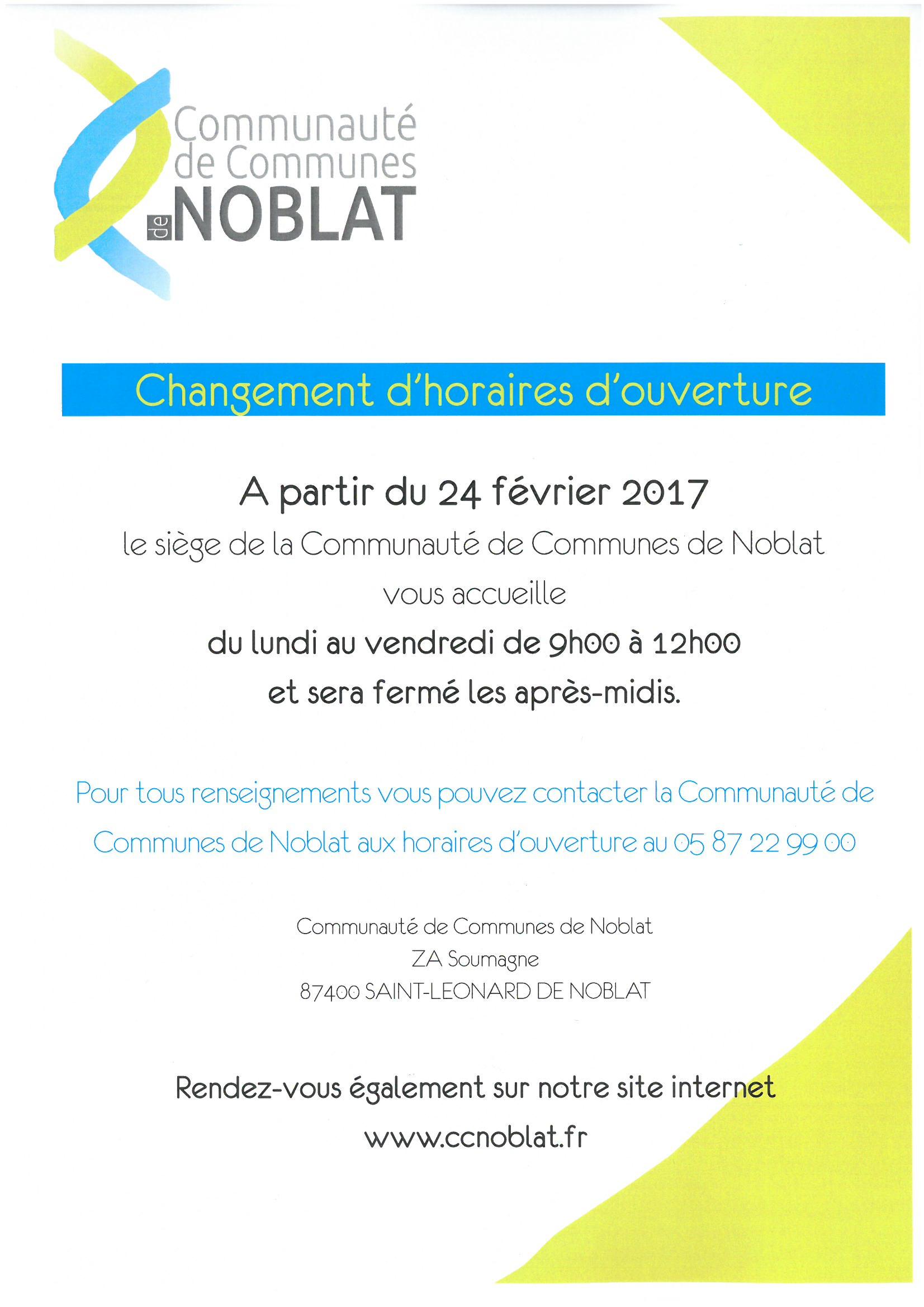 INFO COMMUNAUTE DE COMMUNES DE NOBLAT